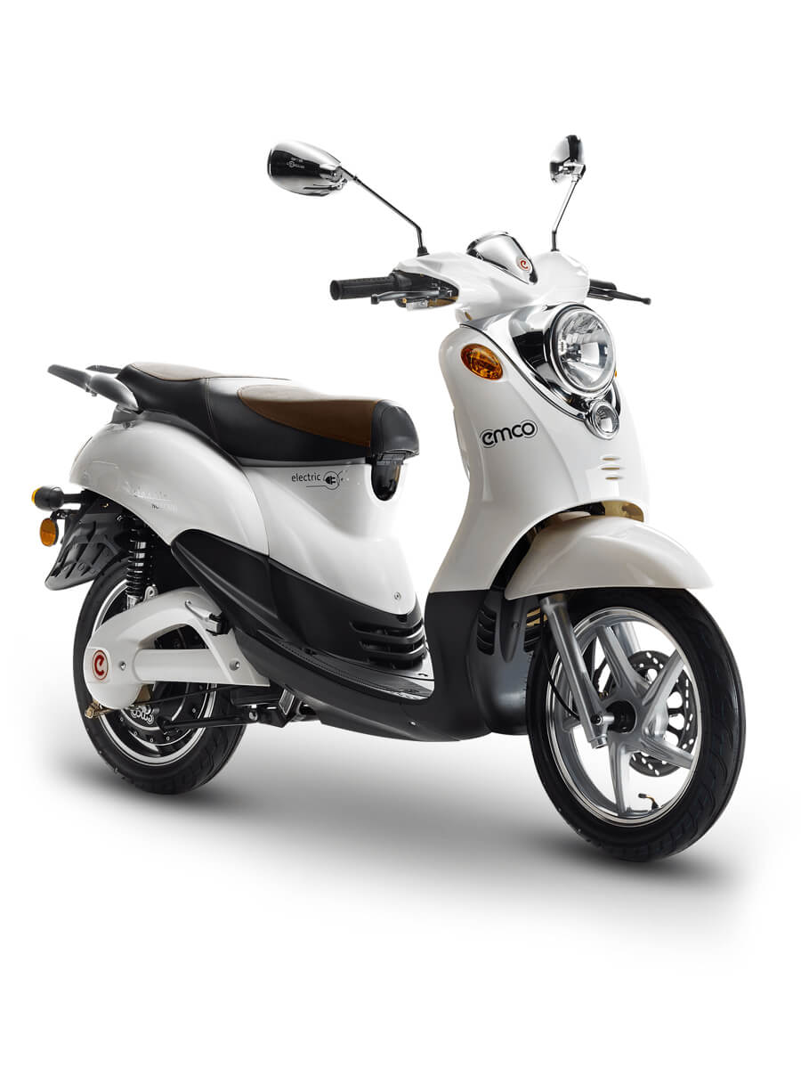 White electric scooter in classic design by emco.